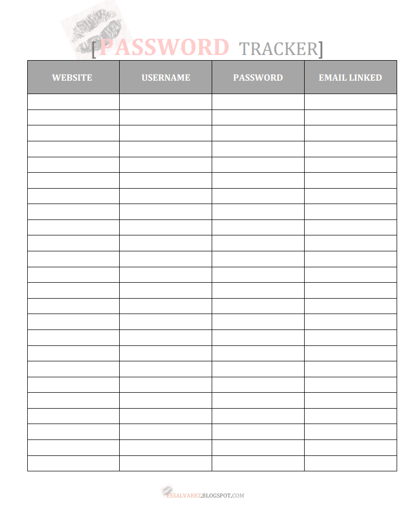 Free Printable Password Tracker Organizer Printable Password