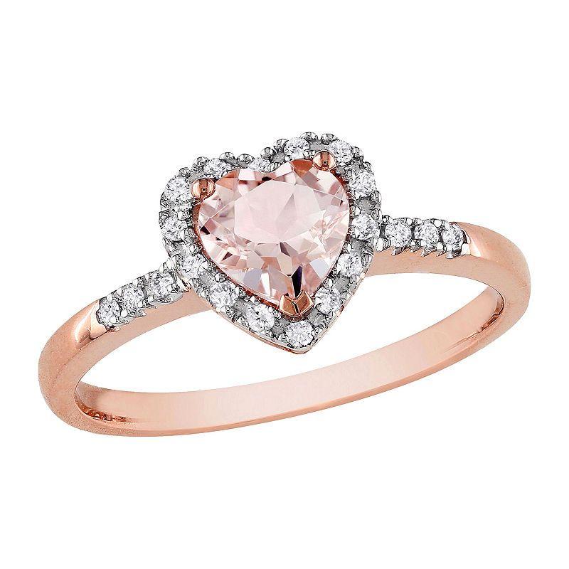 Womens 1 10 Ct T W Genuine Pink Morganite 10k Rose Gold Heart Cocktail Ring Rose Gold Ring Set Rose Gold Heart Morganite Diamond
