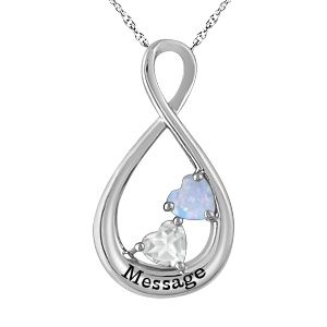 Jared LabCreated Opal Mothers Heart Necklace White Gold