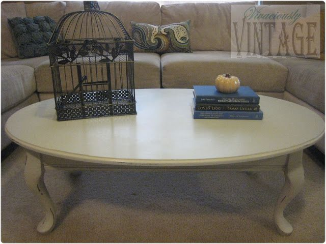 Vivaciously Vintage: Queen Anne Is Distressed! {Chalkpaint Coffee Table}