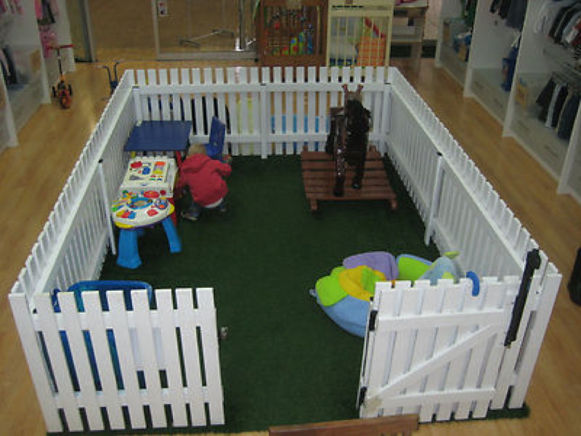 Love This Playpen Fake Grass And White Picket Fence In