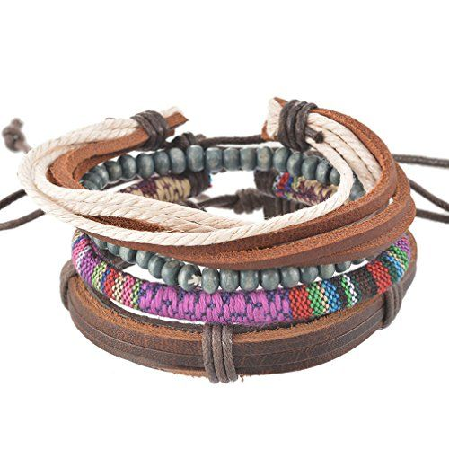 MJARTORIA Unisex PU Leather Hemp Cords Multi Strands Adjustable Wrap Bracelets Set of 6 Ea3G7foE