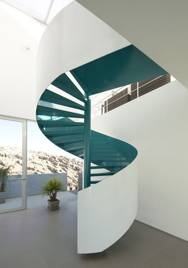 Best House With A Spiral Turquoise Staircase Home Stairs 640 x 480