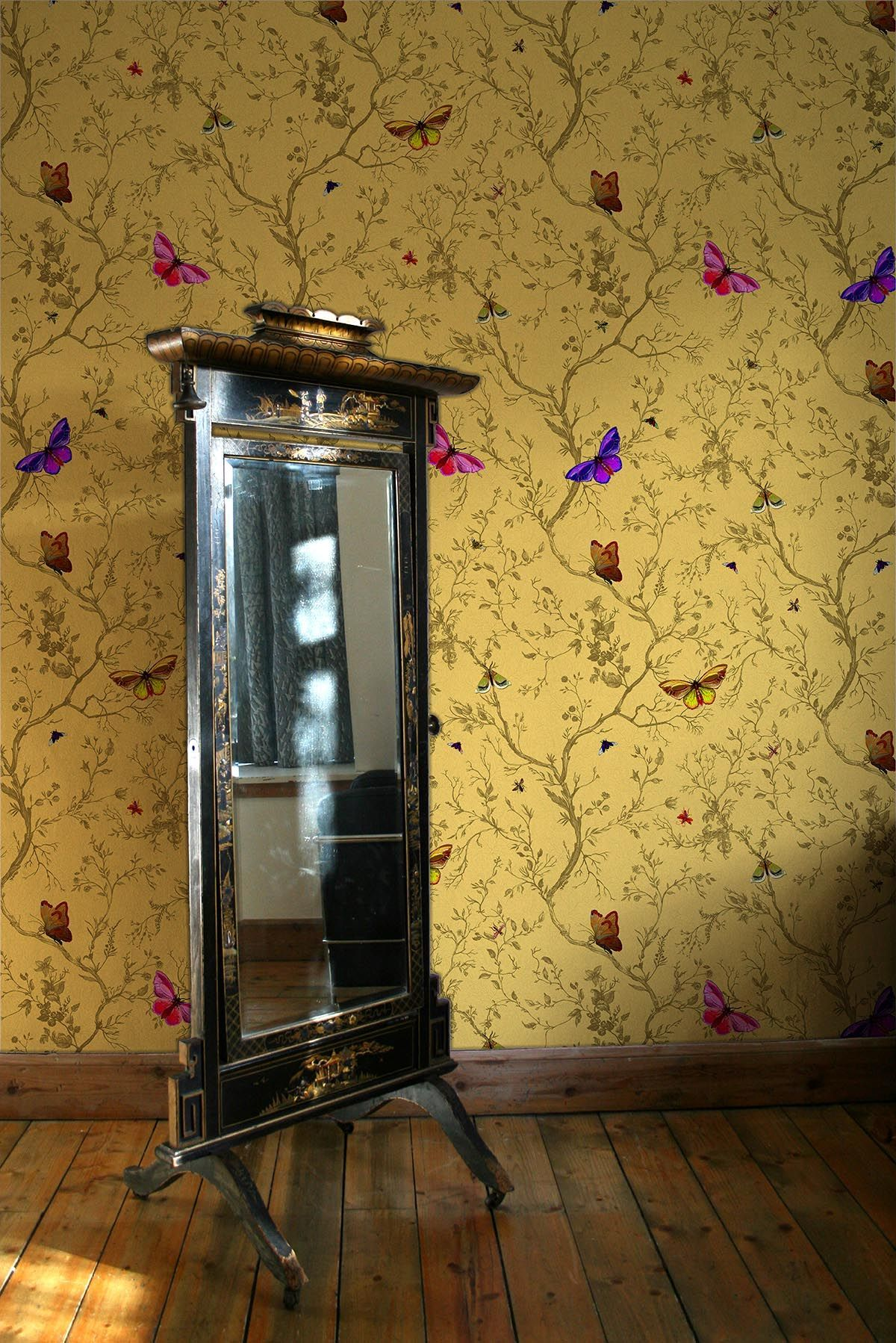 Timorous Beasties Wallcoverings - Butterflies / Ochre | TEENAGE ...