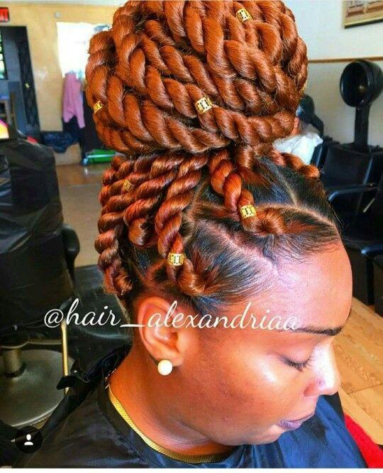 Bronze Orange Big Braided Twist Natural Hair Styles