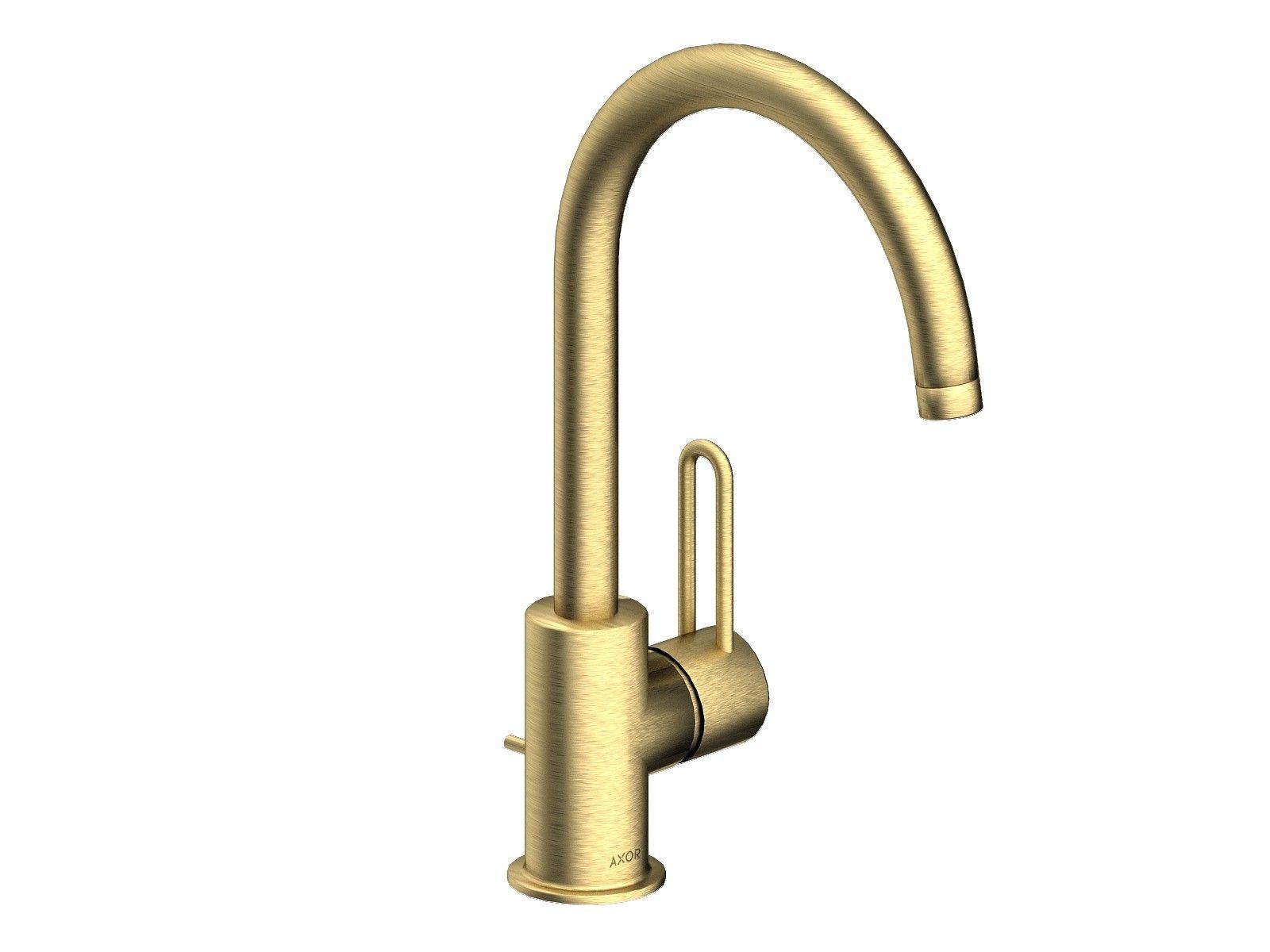 Hansgrohe Axor Uno² - Einhebel-Waschtischmischer mit Ablaufgarnitur Schwenkauslauf brushed brass