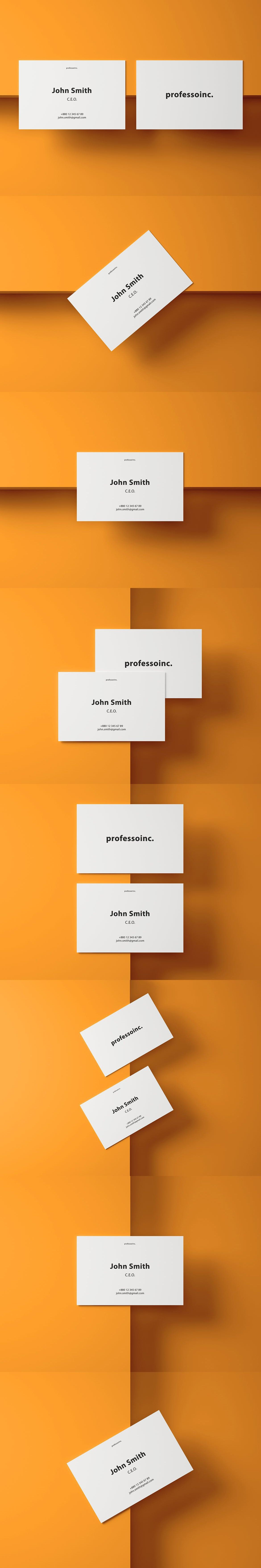 85x55 Business Card Mockup Set 2 By Professorinc On Envato Elements Business Card Mock Up Cards Envato