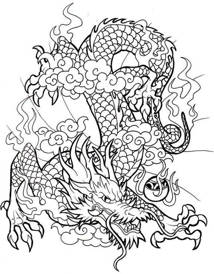 Epic Dragon Line Sheet Coloring Pinterest Coloring Pages