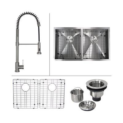 Boann C-UM3219D-07 Zero Radius Stainless Steel Undermount Kitchen Sink and Commercial Style Faucet Set