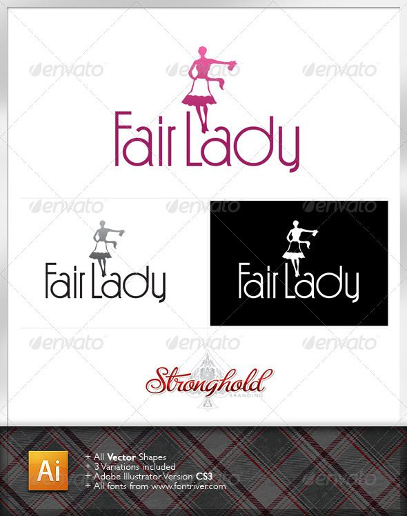 Fair Lady Vintage Logo Template Company Logo Logo Templates Logo Design Template