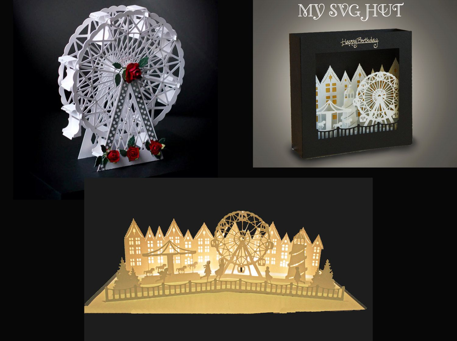 3D SVG PDF Set of 3 All the fun of the fair designs