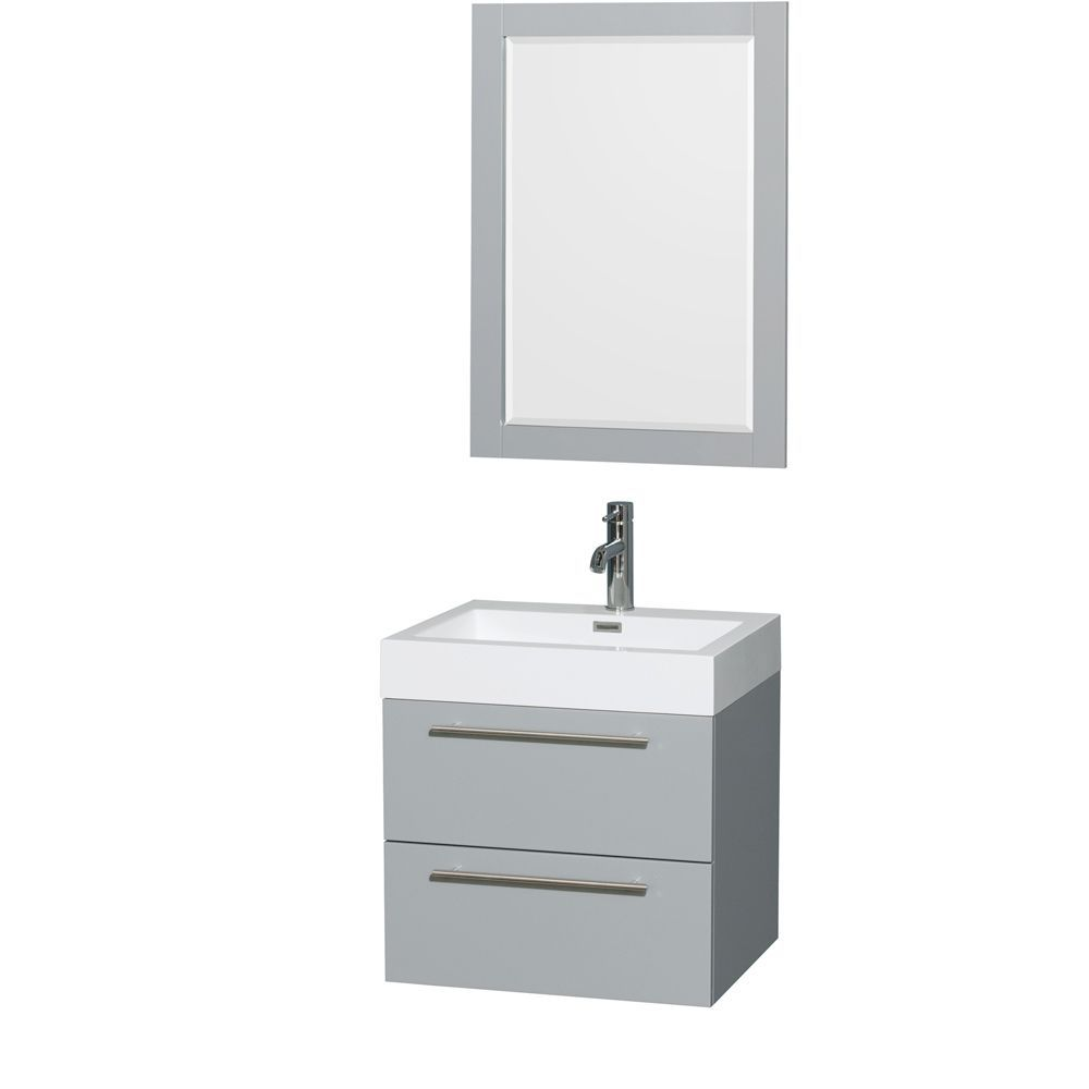 Wyndham Collection Amare Dove Acrylic Resin Top Integrated Sink 24-inch Single Vanity with 24-inch Mirror