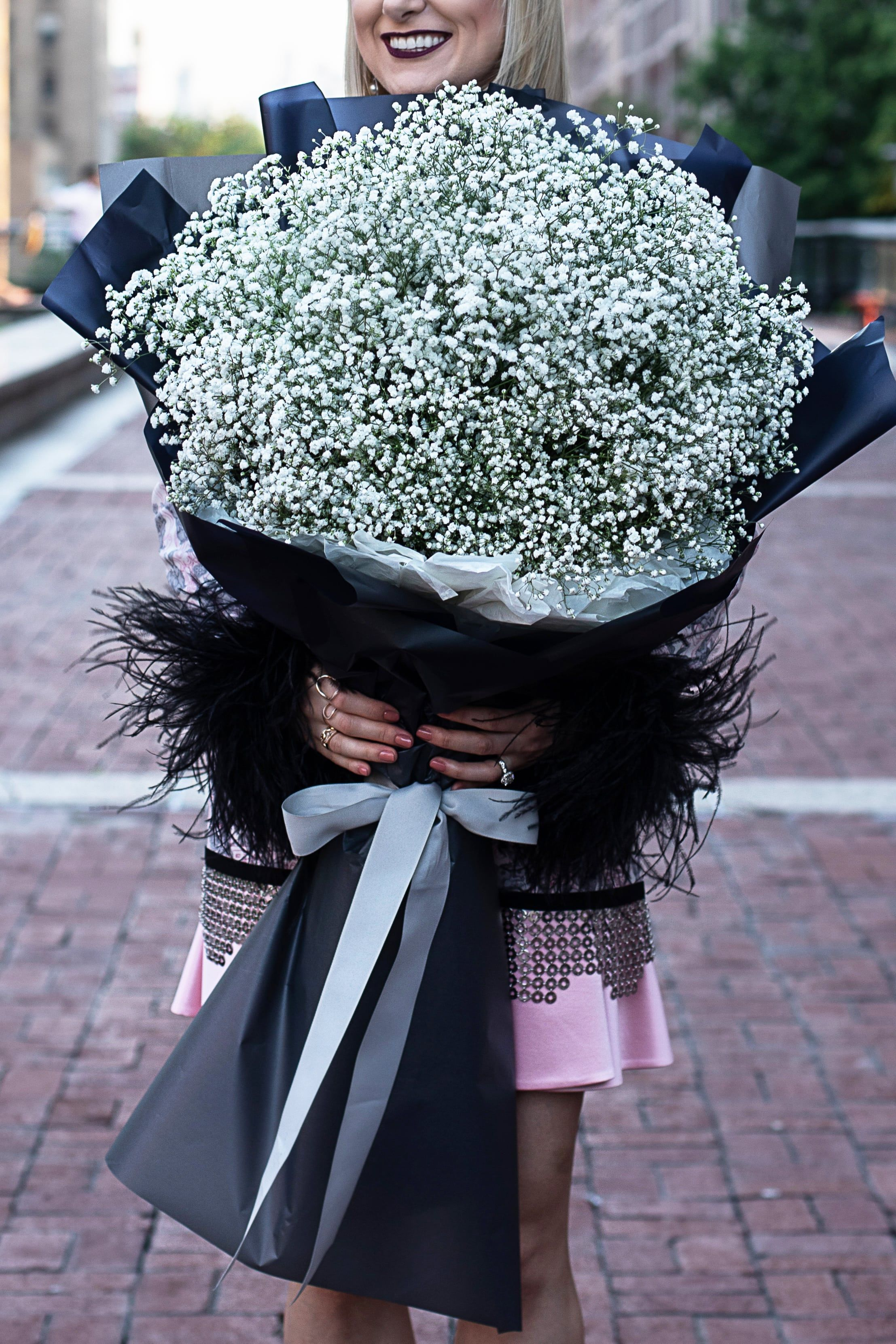 Big Baby Breath Bouquet In The Black Korean Waterproof Wrapping Paper Wmf Events Bouquet Weddingbrooklyn Wed Babys Breath Bouquet Bouquet Wrap Babys Breath