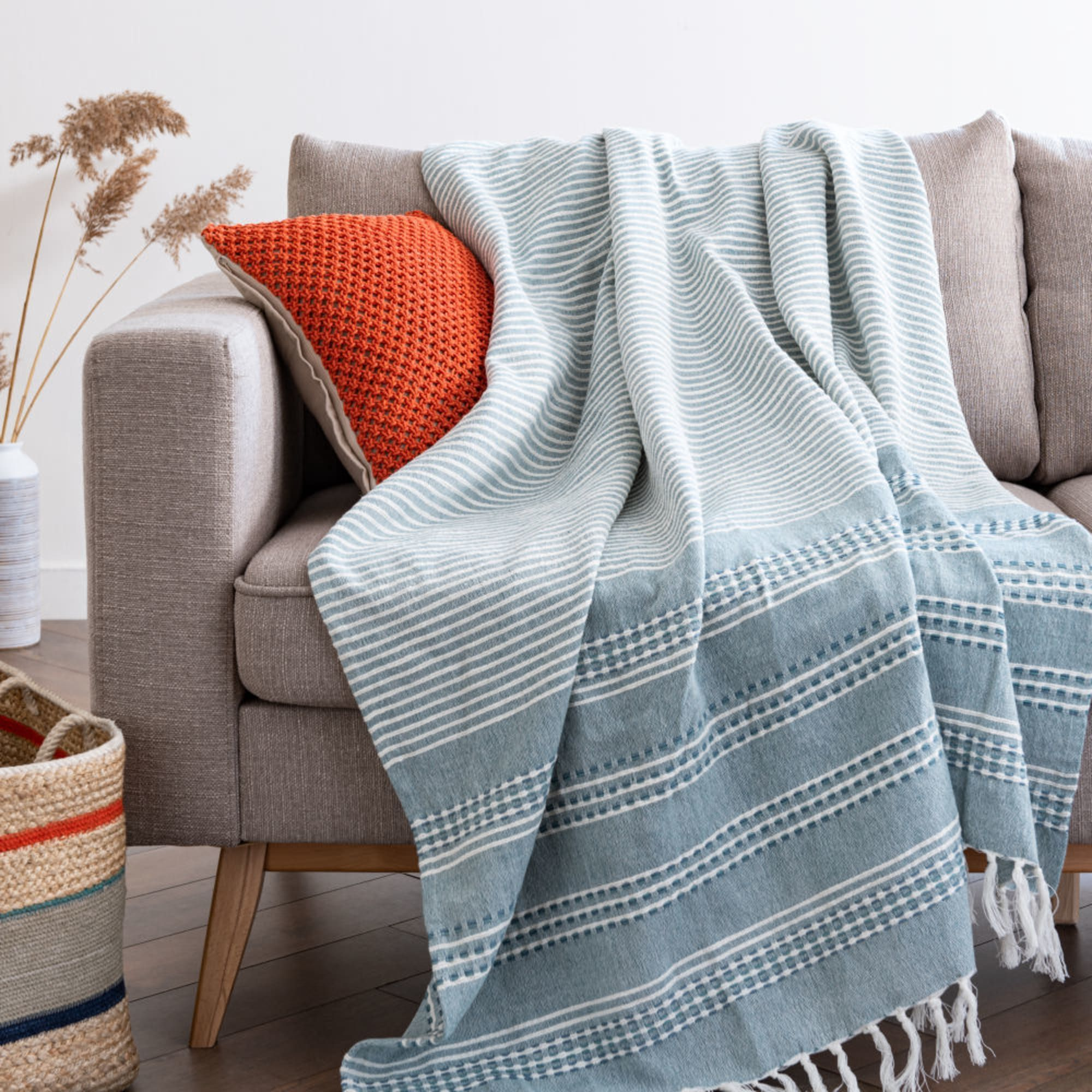 Ecru Cotton Throw With Blue Striped Pattern 160x210 Pascais Maisons Du Monde Riscas Manta
