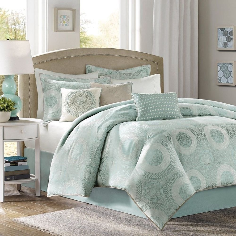 7pc Luxury Seafoam Blue Green Comforter Bedding Set W Bed Skirt