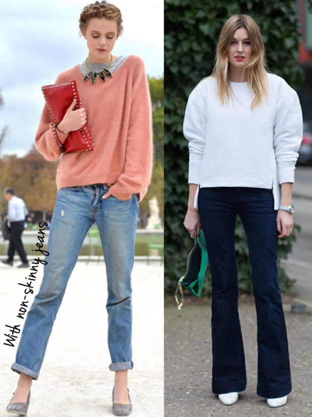 14 ways to wear Oversized sweaters | Skinny jeans, Skinny and Fall ...