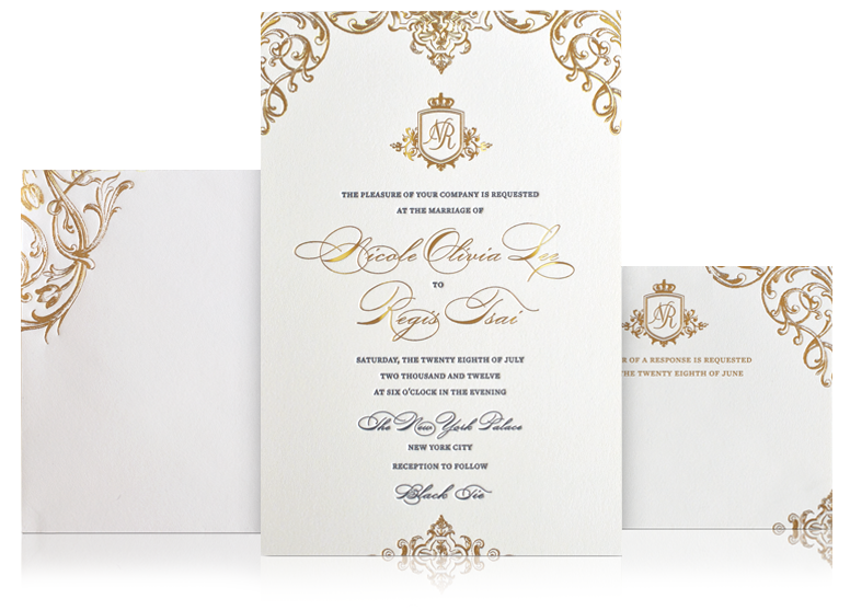 Custom Gold Luxury Wedding Invitation  Tom    Weddings