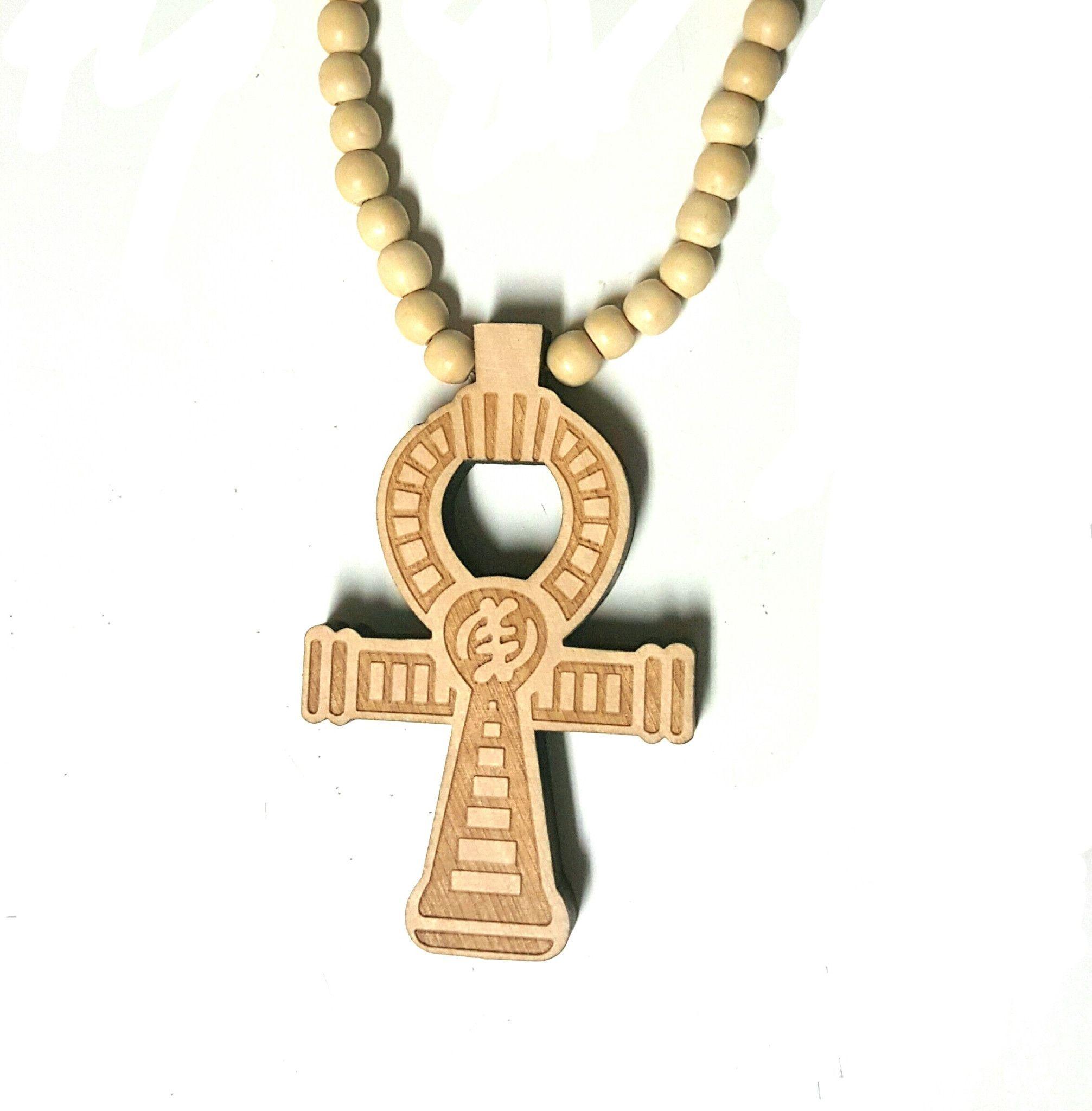 45cm Wooden Ankh With Gye Nyame Symbol Necklace Products And Symbols