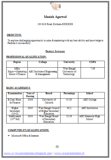 Sample Template of an MBA Finance and Marketing for Fresher and ...