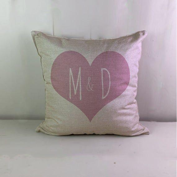 Heart Couple Initals Any Name Custom Customizable Personalized Linen Look Cushio : Heart Couple Initals