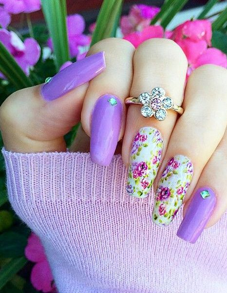 Light Purple Pretty Floral Prom Nail Designs 2016 - Light Purple Pretty Floral Prom Nail Designs 2016 Fashion Trends