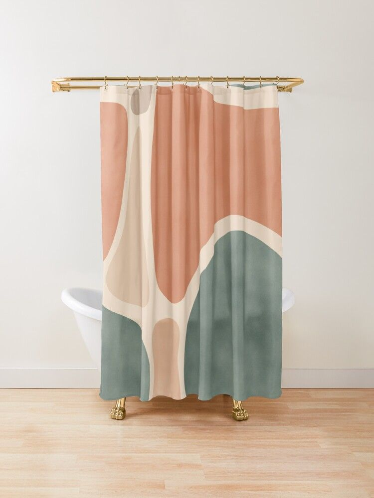 Earth Tones Shapes Shower Curtain By Designdn In 2020 Earth