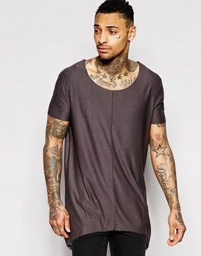 ASOS Super Longline T-Shirt With Raw Scoop Neck And Pointed Hem In Charcoal