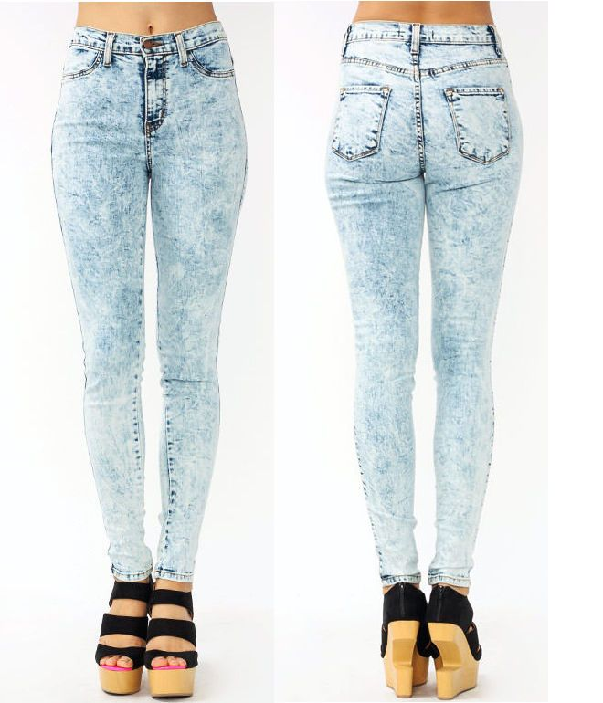 Light acid wash high waisted skinny jeans – Global fashion jeans ...