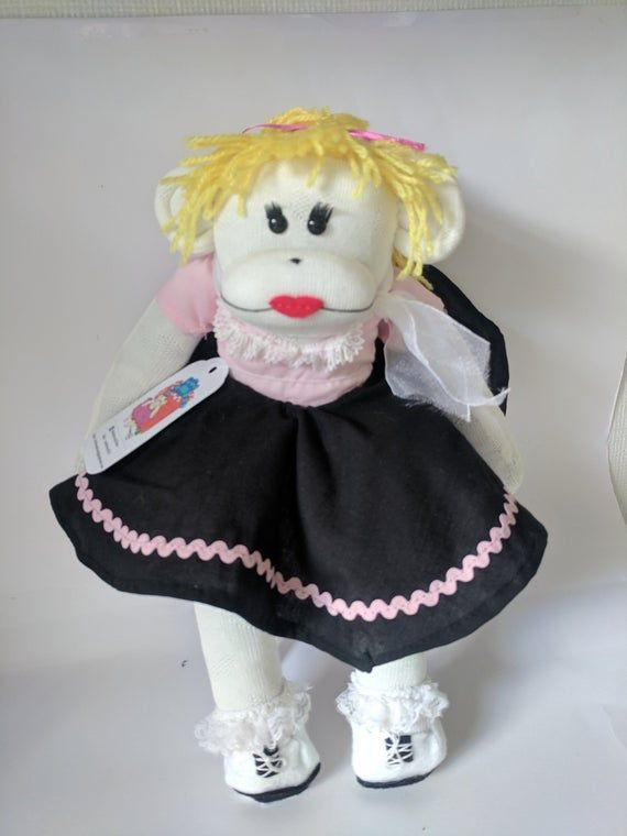 sock monkey,sock monkey girl,pink lady,grease,sock toy,pink ladies costume,frilly socks,brogues,thea #sockmoneky