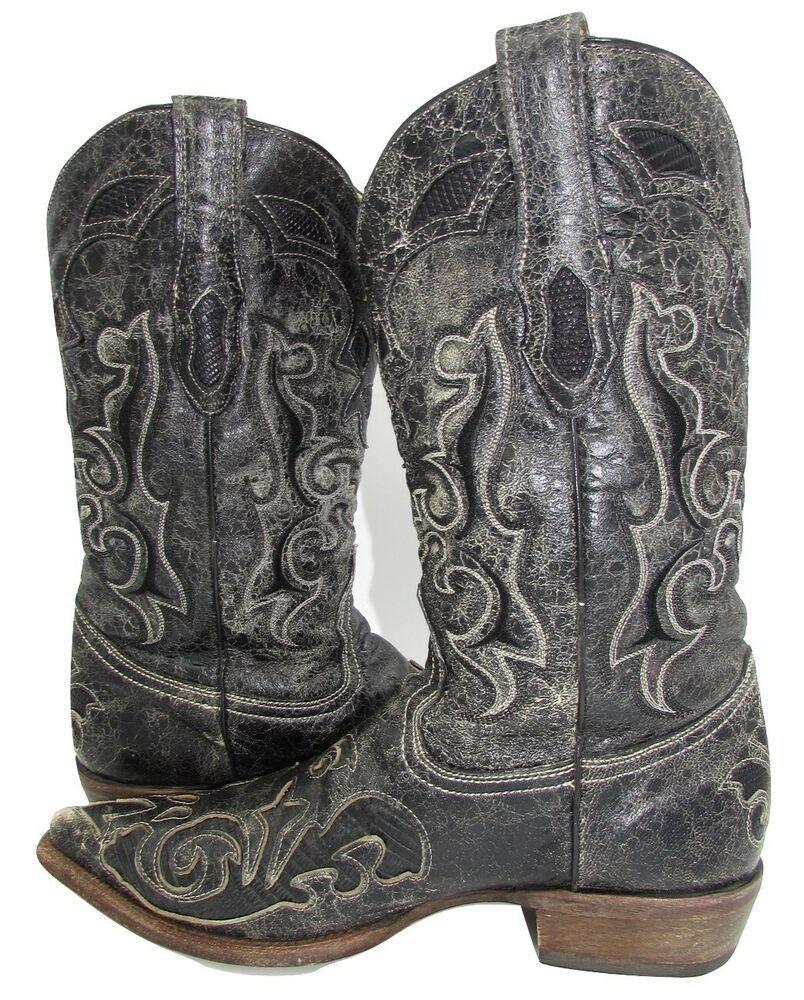 d07b891f36e Corral Vintage mens Lizard Leather Western Boots 9 D Dark Grey ...