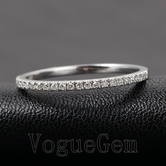 VogueGem Solid 14K White Gold Half Eternity Micro Pave H SI Diamond Wedding Band Ring