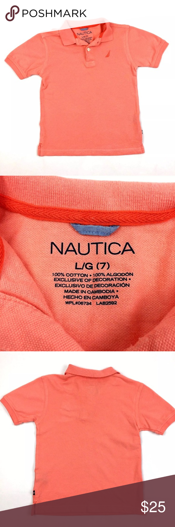 Polo Style Embroidered Collard Shirt Peach ! Perfect casual preppy shirt. Length 18 inches. Chest 14 inches. Nautica Tops