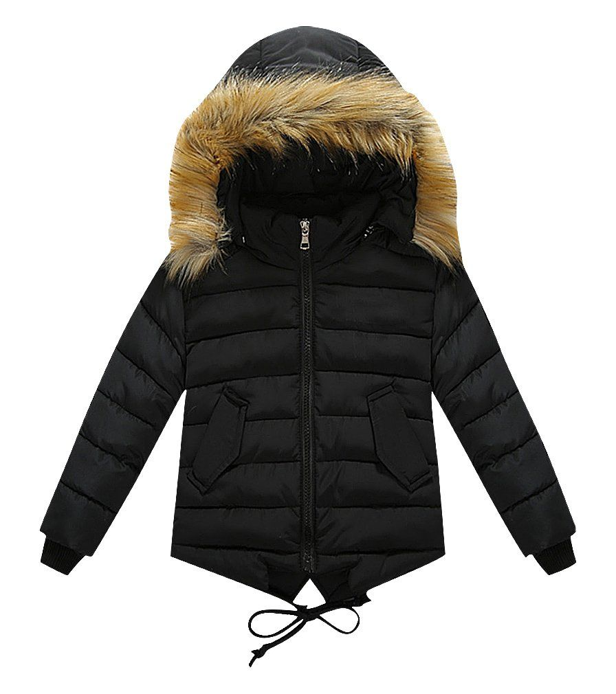 daea34fca Sweety Kids Quilted Dove Tail Zip Up Fur Lined Hood Jacket With ...