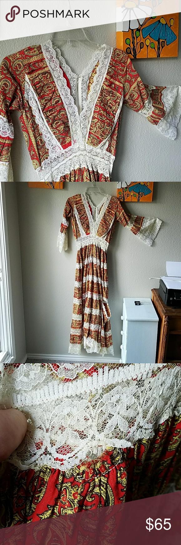 AMAZING boho vintage hippie maxi dress sz 2 lace Hippie