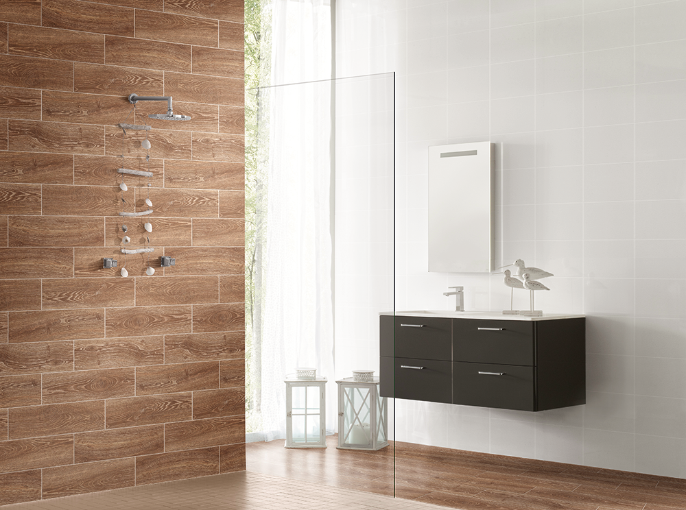 Wood effect porcelain floor tiles create a striking look for Best flooring for wet rooms