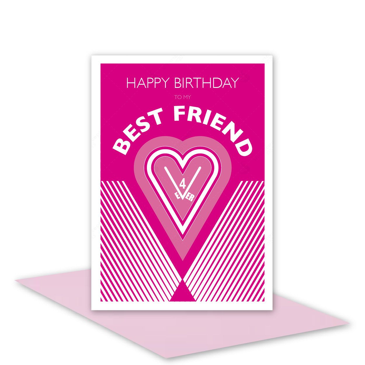 Best Friend Happy Birthday Card For Girl Woman Female Ever Personalised Inside Message Option Heart Typography Hot Pink