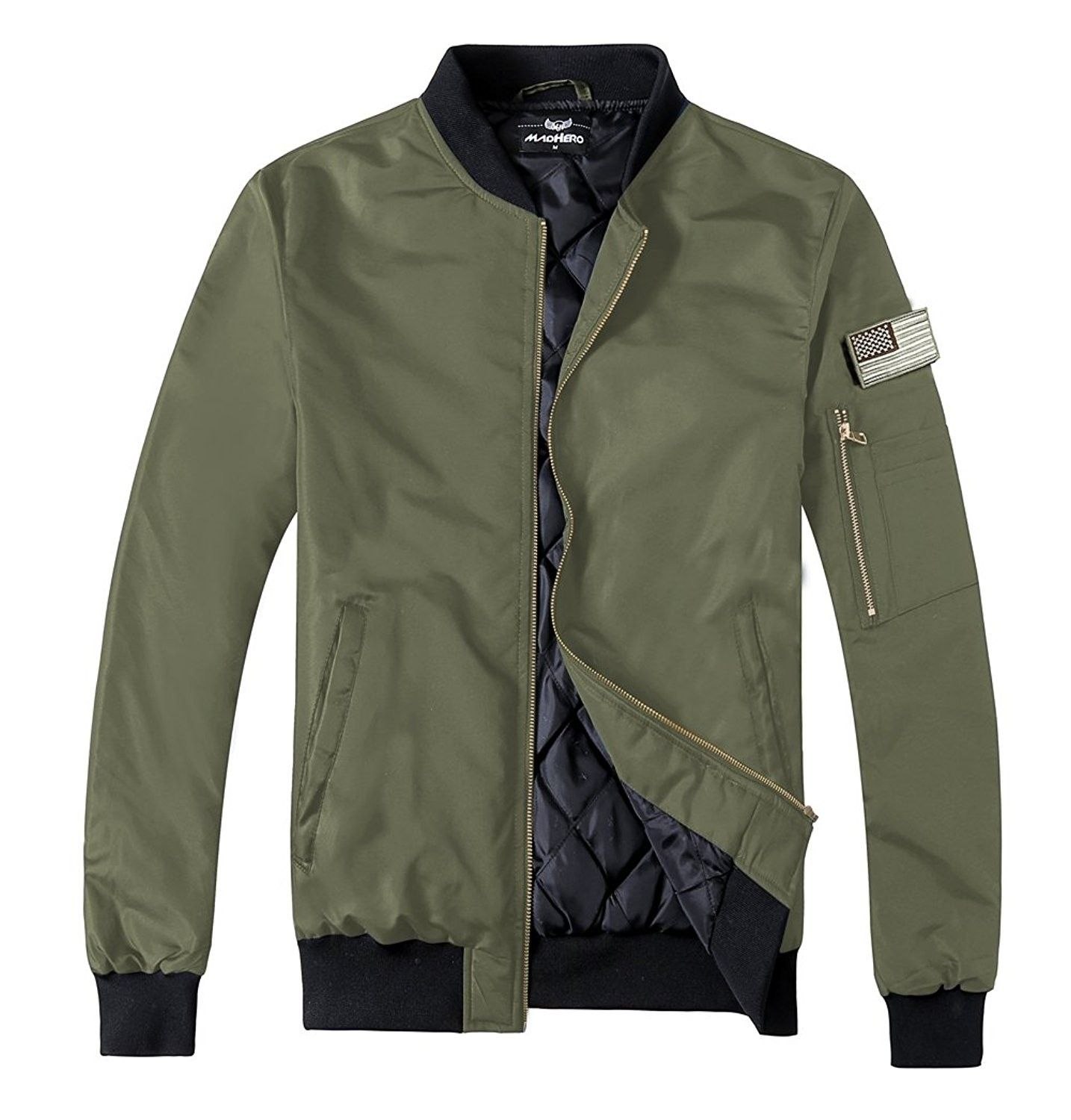 Men S Padded Flight Jacket Lightweight Quilted Coat With Patches Army Green Ci188quqr2r Jackets Men Fashion Mens Outerwear Jacket Jackets [ 1500 x 1434 Pixel ]