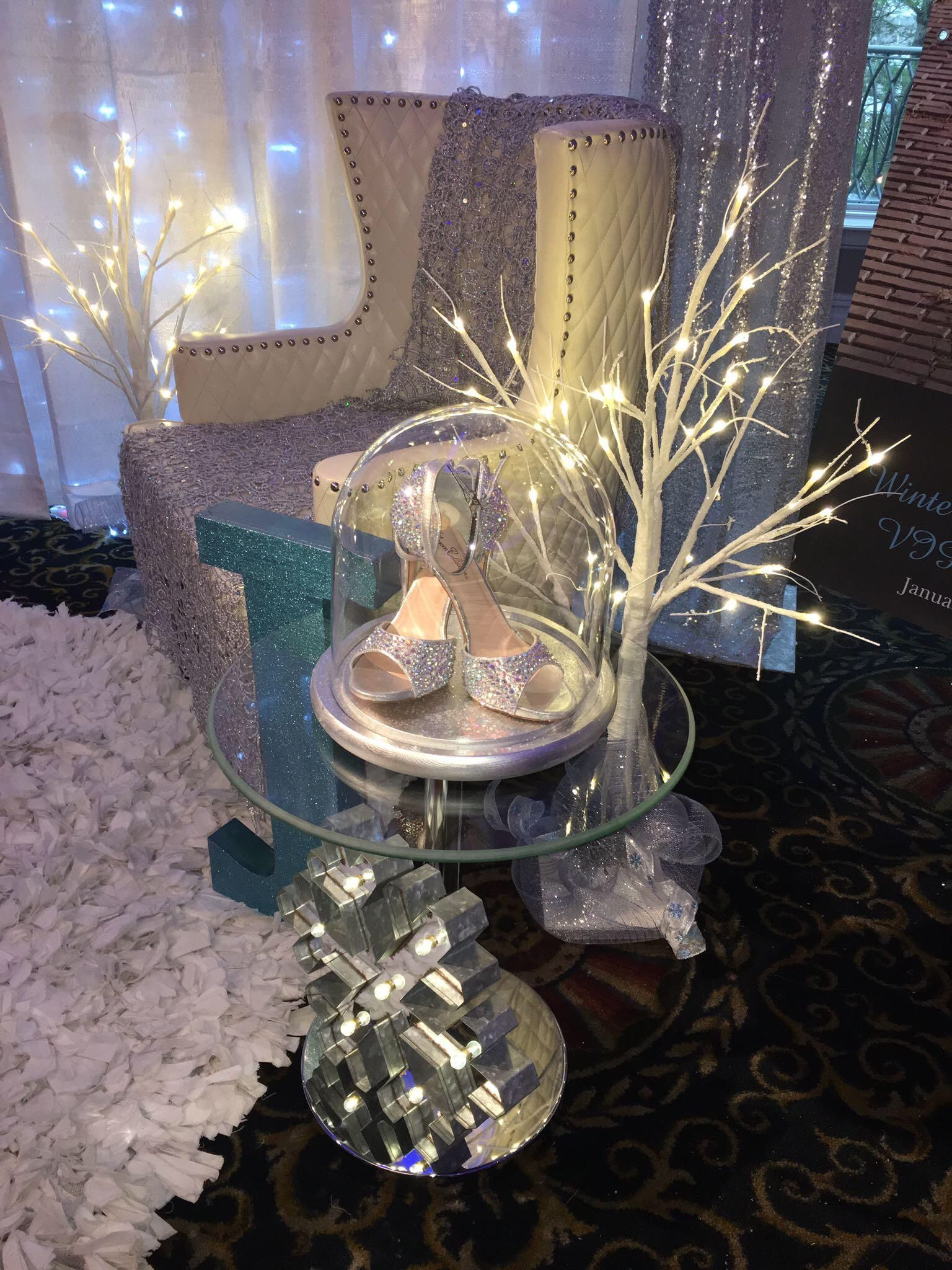 dress - Wonderland Winter decorations for sweet 16 pictures video