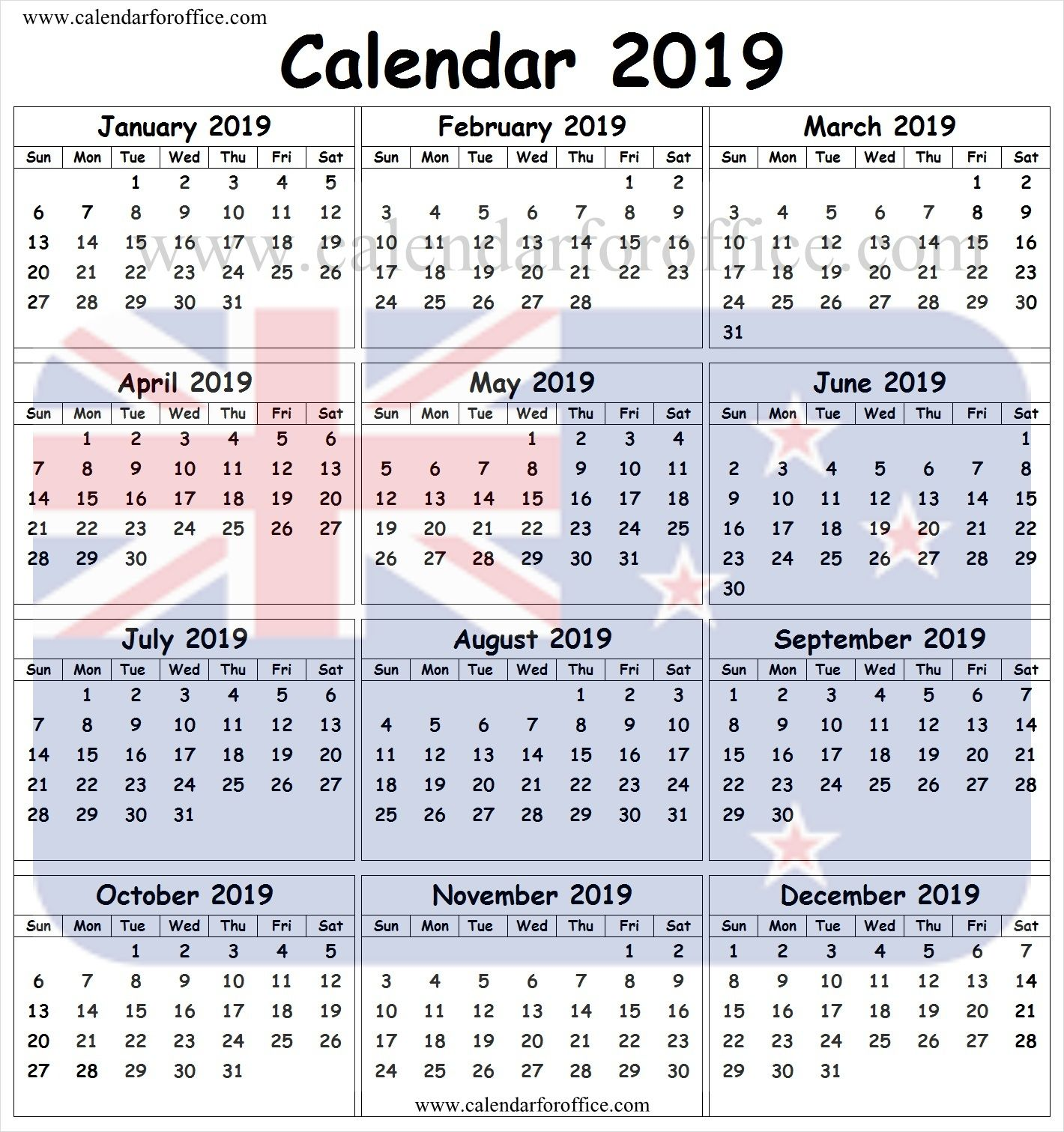 2019 Calendar Nz With Public Holidays Template Printable Holiday