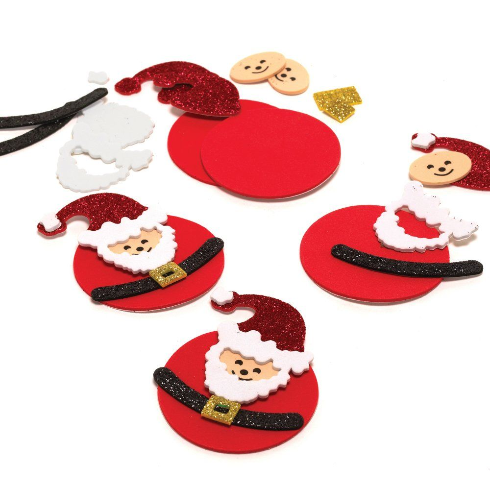 Christmas Styrofoam Santa Hat Cut Out Red Glitter 4-Inch 12 Count