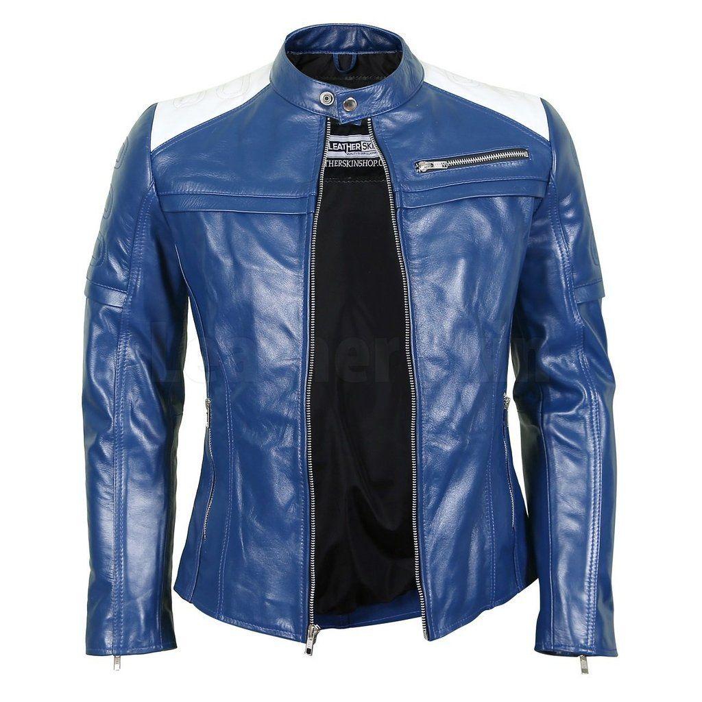 Women's Blue Leather Biker Jacket Jackets for women