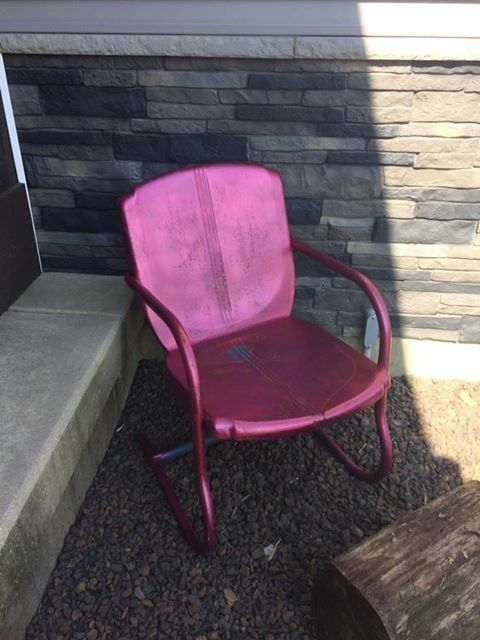1940 S Arvin Vintage Metal Lawn Chair My First Hot Pink With Glitter May Wait Before Sandblasting This One