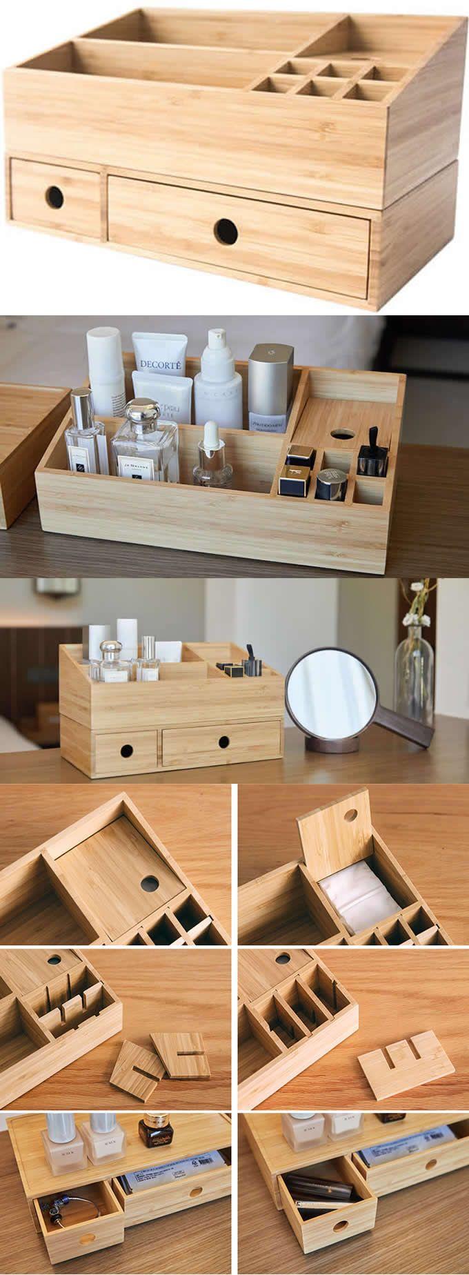 Bamboo Wooden Office Desk Orangizer 2 Drawer Makeup Storage