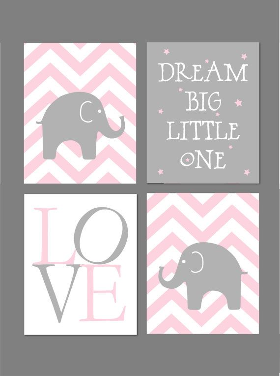 Pink And Grey Nursery Dream Big Little One Elephant Nursery Etsy Baby Girl Nursery Pink Baby Girl Nursery Pink And Grey Girl Nursery Pink