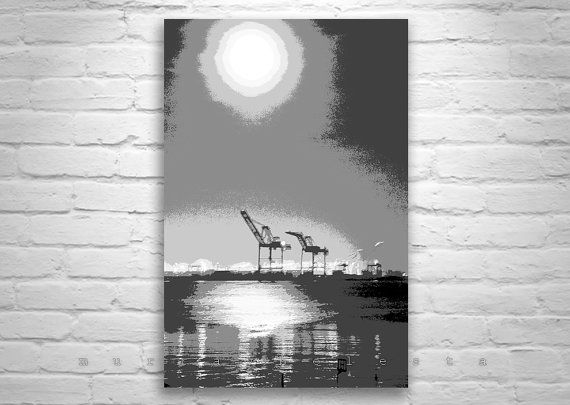 Oakland California Art, Port of Oakland, Black and White, Abstract Art, Oakland Pictures, Harbors, Moonlight, Digital Art, Wall Pictures