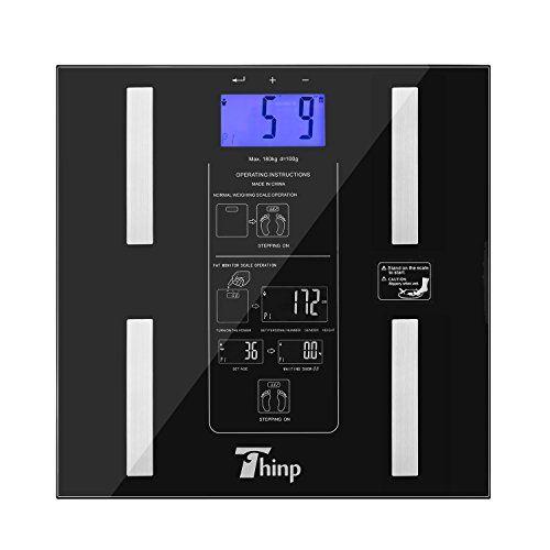 Thinp Pèse Personne Numérique Electronique en Verre 6-180KG – Mesurer le poids, les quantités de graisse, d'eau, de muscle et d'os –…