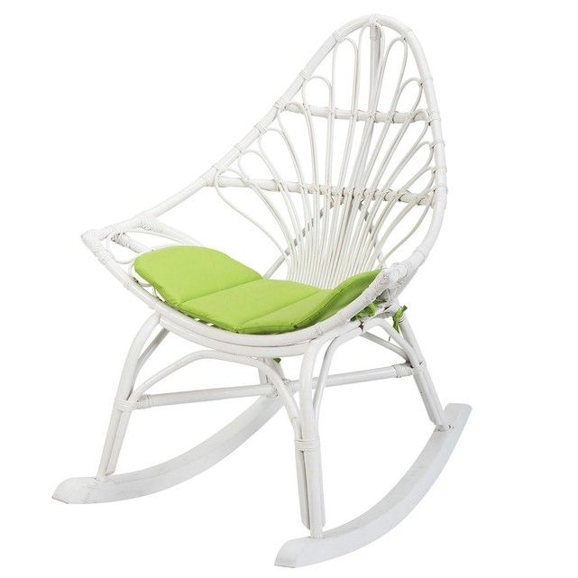 Rocking Chair En Rotin Blanc CALPE Rotin Design Rocking Chairs - Fauteuil rotin blanc