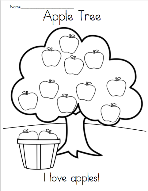 Apple Tree Reading and Coloring Printable Apple coloring