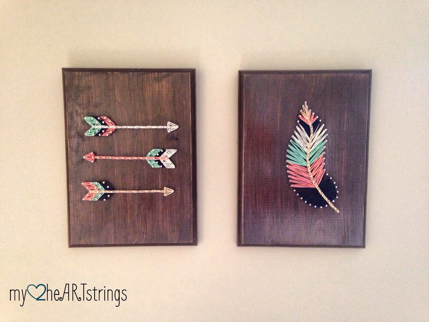 String art feather and arrow set | String art, Arrow and Feathers
