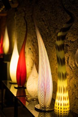 Lichtobjekte aus Glas von C-Design der Glasbläserei Events wie Hochzeiten in d